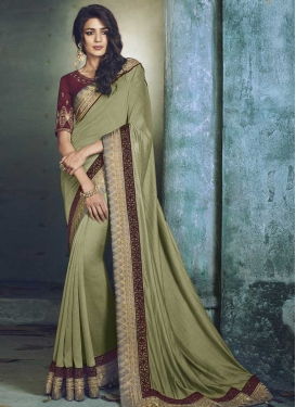 Embroidered Work Satin Silk Trendy Saree