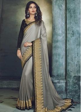 Embroidered Work Satin Silk Trendy Saree