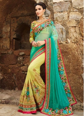 Embroidered Work Sea Green and Yellow Half N Half Saree