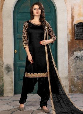 Embroidered Work Semi Patiala Salwar Kameez