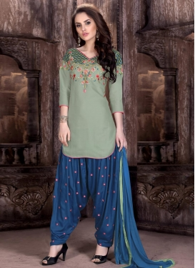 Embroidered Work Semi Patiala Salwar Suit For Ceremonial