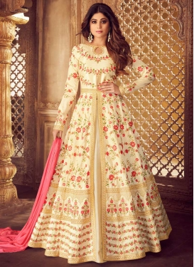 Embroidered Work Shamita Shetty Designer Floor Length Salwar Suit