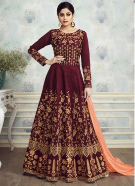 Embroidered Work Shamita Shetty Long Length Anarkali Suit