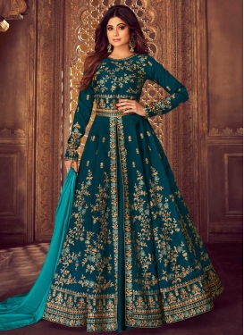 Embroidered Work Shamita Shetty Long Length Designer Suit