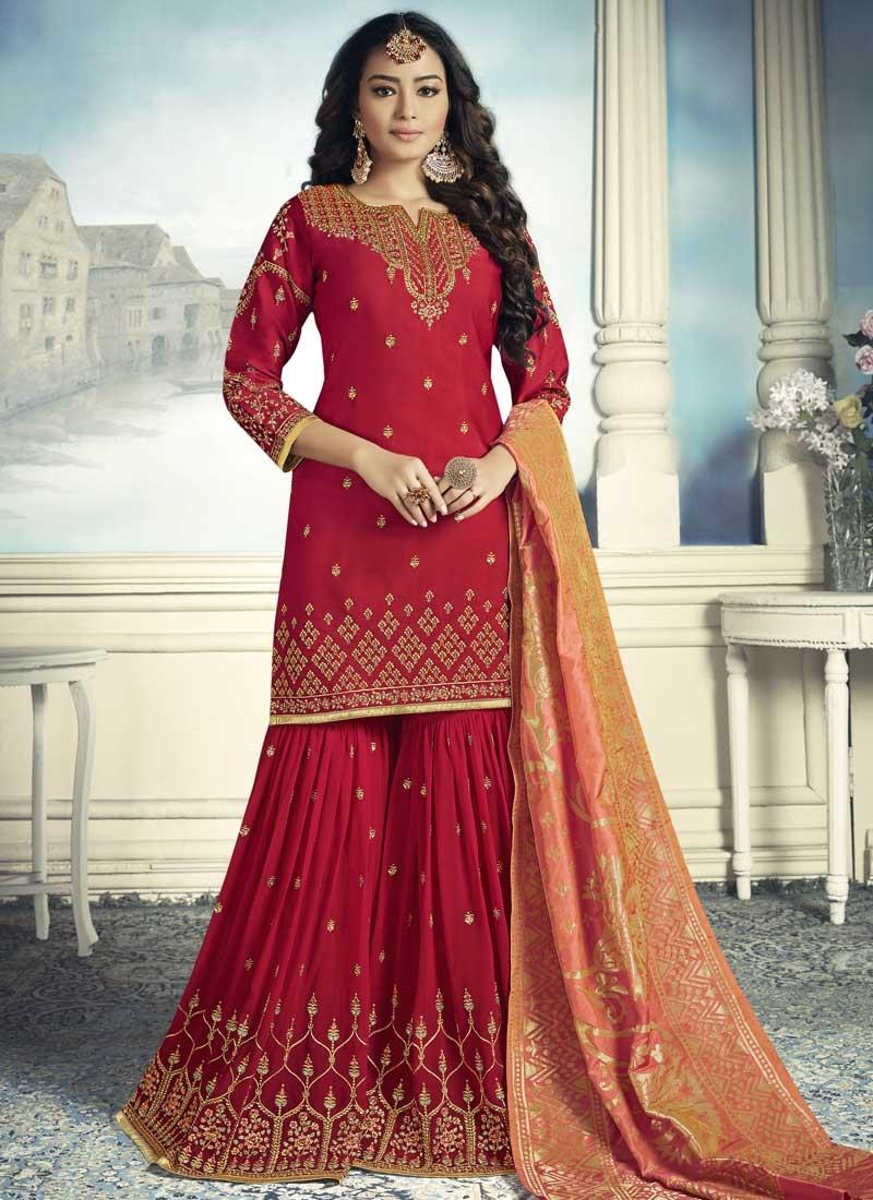 d710cca03 Buy Embroidered Work Sharara Salwar Kameez Online