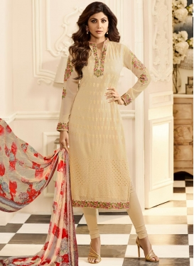 Embroidered Work Shilpa Shetty Churidar Salwar Kameez
