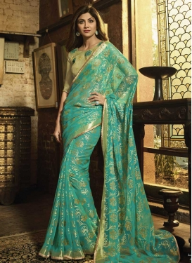 Embroidered Work Shilpa Shetty Traditional Designer Saree