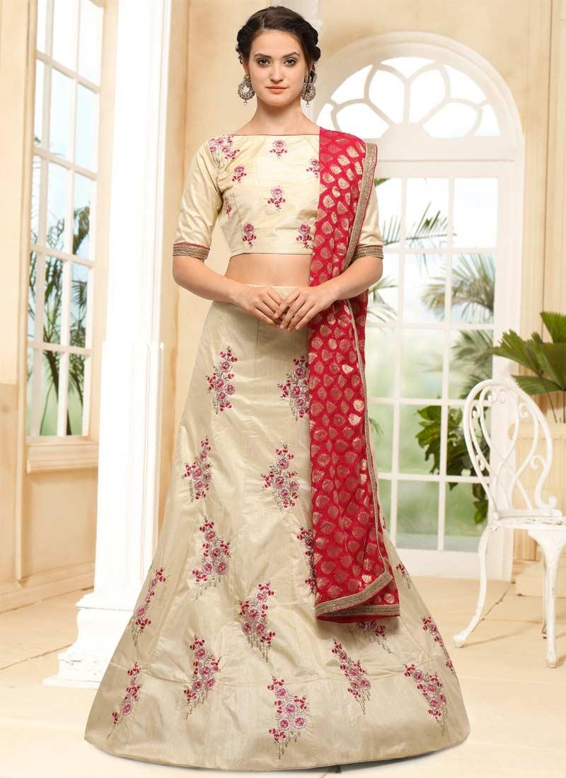 Embroidered Work Silk A Line Lehenga Choli