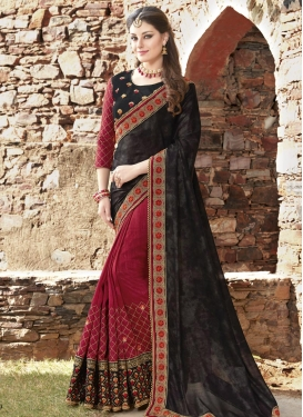 Embroidered Work Silk Black and Crimson Half N Half Trendy Saree