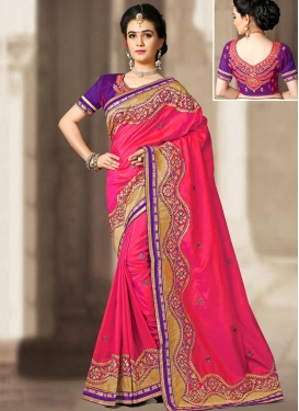 Embroidered Work Silk Classic Designer Saree For Party
