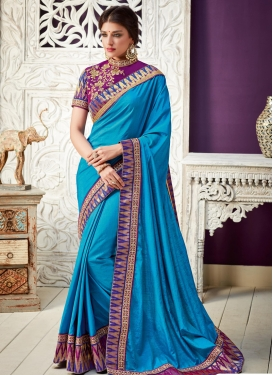 Embroidered Work Silk Contemporary Style Saree