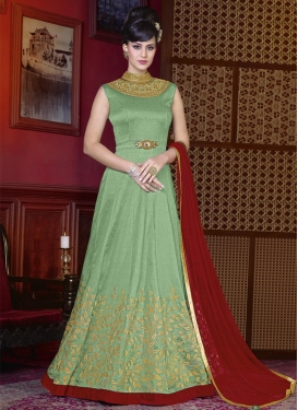 Embroidered Work Silk Floor Length Anarkali Salwar Suit
