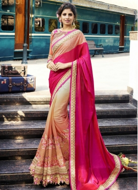 Embroidered Work  Silk Georgette Half N Half Designer Saree