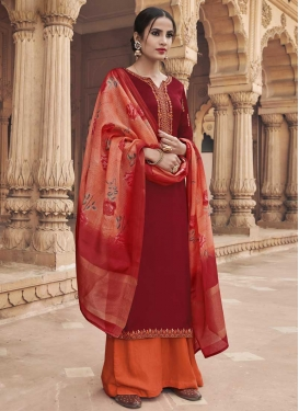 Embroidered Work Silk Georgette Orange and Red Palazzo Style Pakistani Salwar Kameez