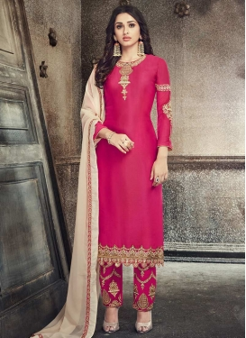 Embroidered Work Silk Georgette Pant Style Designer Salwar Suit