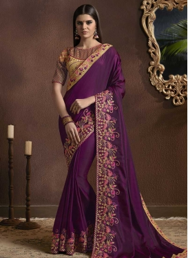 Embroidered Work Silk Georgette Trendy Saree