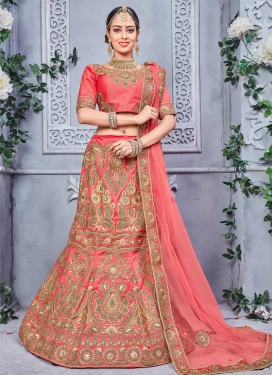 Embroidered Work Silk Trendy A Line Lehenga Choli