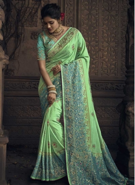 Embroidered Work Silk Trendy Classic Saree For Bridal