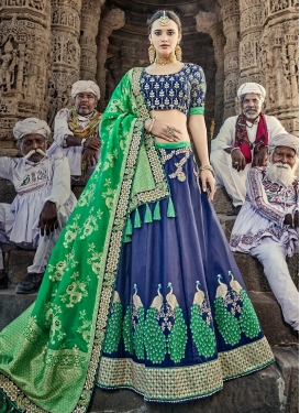 Embroidered Work Silk Trendy Lehenga