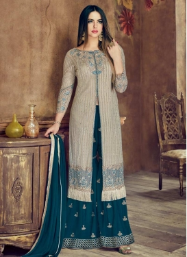 Embroidered Work Silver Color and Teal Net Designer Palazzo Salwar Kameez