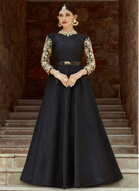 Embroidered Work Tafeta Silk Floor Length Salwar Kameez
