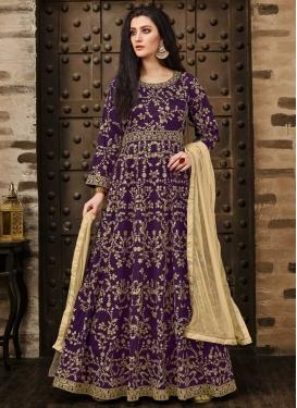 Embroidered Work Tafeta Silk Long Length Anarkali Salwar Suit