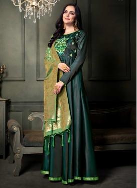 Embroidered Work Tafeta Silk Long Length Salwar Kameez