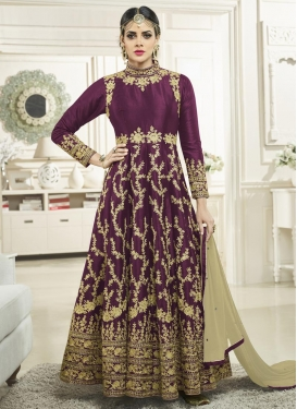 Embroidered Work Tafeta Silk Trendy Anarkali Salwar Kameez