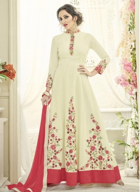 Embroidered Work Tafeta Silk Floor Length Anarkali Salwar Suit