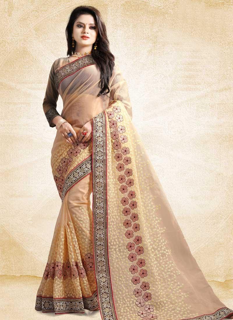 Embroidered Work Tissue Traditional Designer Saree