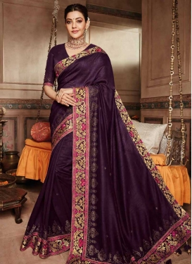 Embroidered Work Traditional Designer Saree For Festival