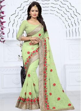 Embroidered Work Traditional Saree For Party