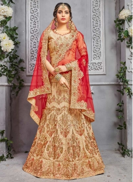 Embroidered Work Trendy A Line Lehenga Choli For Bridal