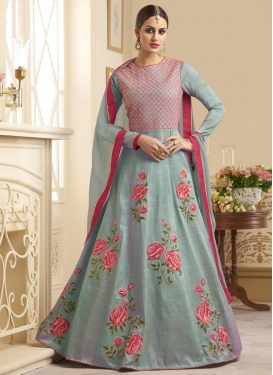 Embroidered Work Trendy Anarkali Salwar Kameez For Festival