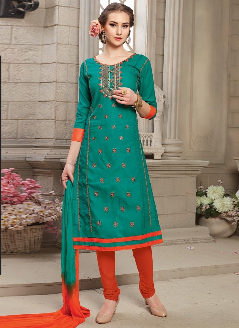 Shop Embroidered Work Trendy Churidar Salwar Suit Online In Germany