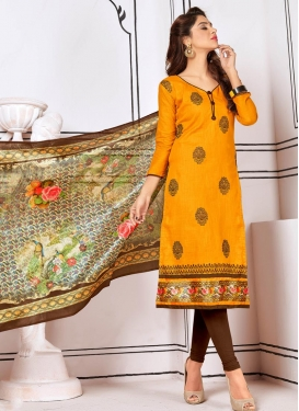 Embroidered Work Trendy Churidar Salwar Suit