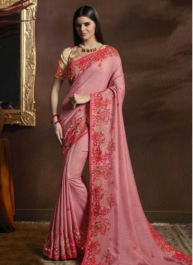 Embroidered Work Trendy Classic Saree For Festival