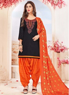 Embroidered Work Trendy Semi Patiala Salwar Suit For Festival