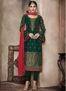 Embroidered Work Trendy Straight Salwar Suit