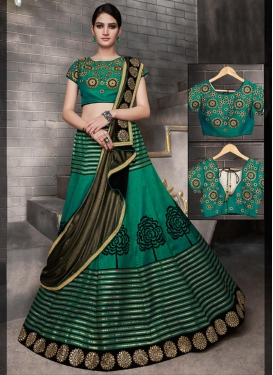 Embroidered Work Tussar Silk A - Line Lehenga