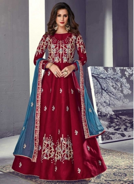Embroidered Work Tussar Silk Long Length Anarkali Salwar Suit
