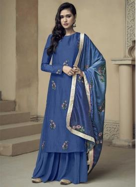 Embroidered Work Uppada Silk Sharara Salwar Suit