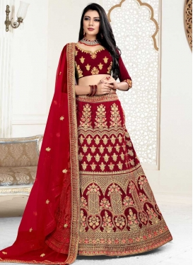 Embroidered Work Velvet A - Line Lehenga