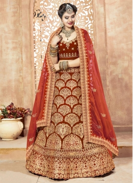 Embroidered Work Velvet A Line Lehenga Choli