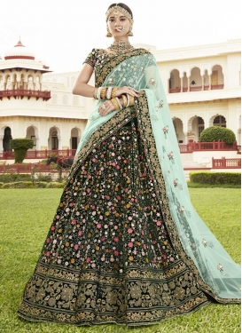 Embroidered Work Velvet Trendy A Line Lehenga Choli