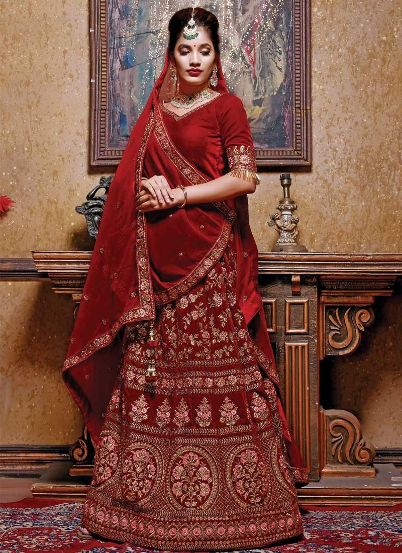 Embroidered Work Velvet Trendy A Line Lehenga Choli