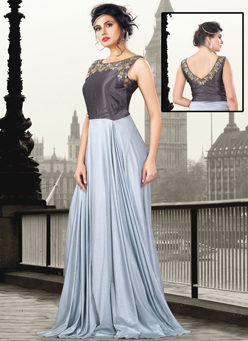 Enchanting Art Raw Silk Floor Length Readymade Gown