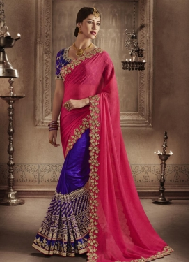 Enchanting Art Silk Embroidered Work Half N Half Saree