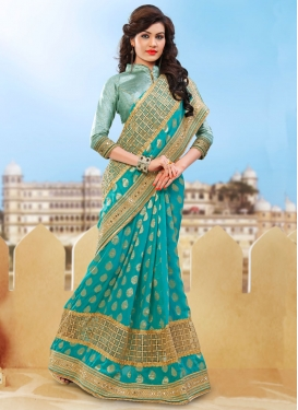 Enchanting Beads And Lace Work Designer Saree