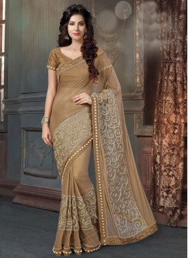 Enchanting Beads Work Fancy Fabric Traditional Designer Saree For Ceremonial